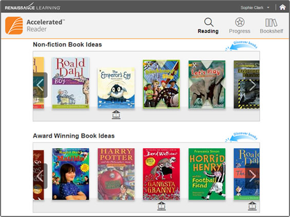 Screenshot of advanced book discovery in Accelerated Reader