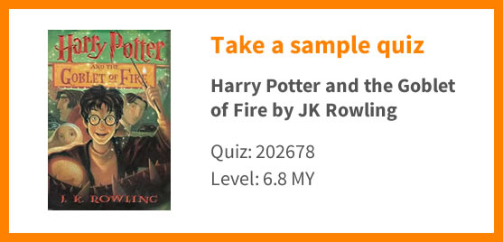 Graphic showing that you can take a sample quiz on Harry Potter and the Goblet of Fire
